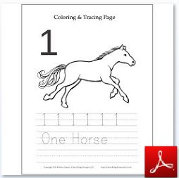 Number 1 Horse Coloring Tracing Page