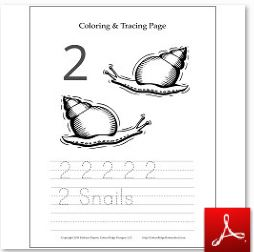 Number 2 Snail Coloring Tracing Page