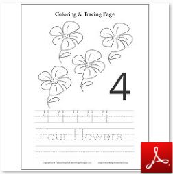 Number 4 Flower Coloring Tracing Page