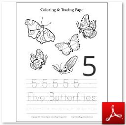 Number 5 Butterflies Coloring Tracing Page