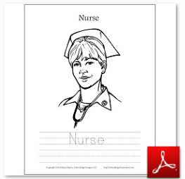 Nurse Coloring Tracing Page