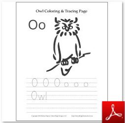 Owl Coloring Tracing Page