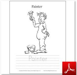 Painter Coloring Tracing Page