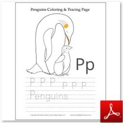 Penguins Coloring Tracing Page