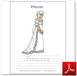 Princess 3 Coloring Tracing Page