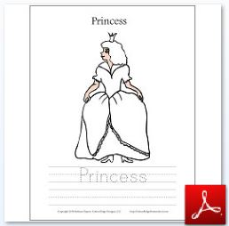 Princess Coloring Tracing Page