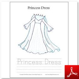 Princess Dress Coloring Tracing Page