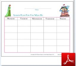 Princess Simple Lesson Plan Fill In