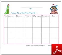Princess Subject Time Lesson Plan Fill In