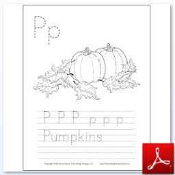 Pumpkins Coloring Tracing Page