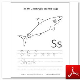 Shark Coloring Tracing Page