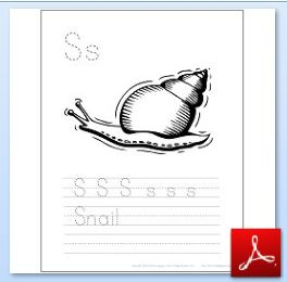 Snail Coloring Tracing Page