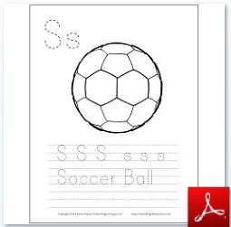 Soccer Ball Coloring Tracing Page