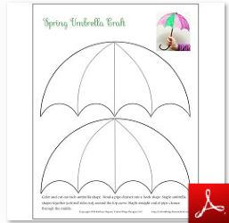 Spring themed educational activities for kids free for Printable umbrella template for preschool