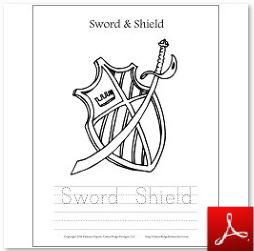 Sword and Shield Coloring Tracing Page