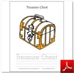 Treasure Chest Coloring Tracing Page