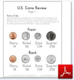 picture about Coins Printable titled U.S. Cash Research ~ A Totally free Math Printable