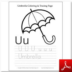 Umbrella Coloring Tracing Page