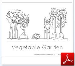 Vegetable Garden Coloring Tracing Page