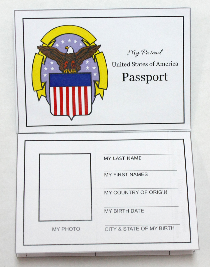 Pretend Passport Craft Open