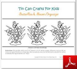 Tin Can Craft Butterflies and Flowers Organizer