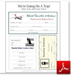 Travel Tickets Train Plane Cruise OK ...  Free Passport Template For Kids