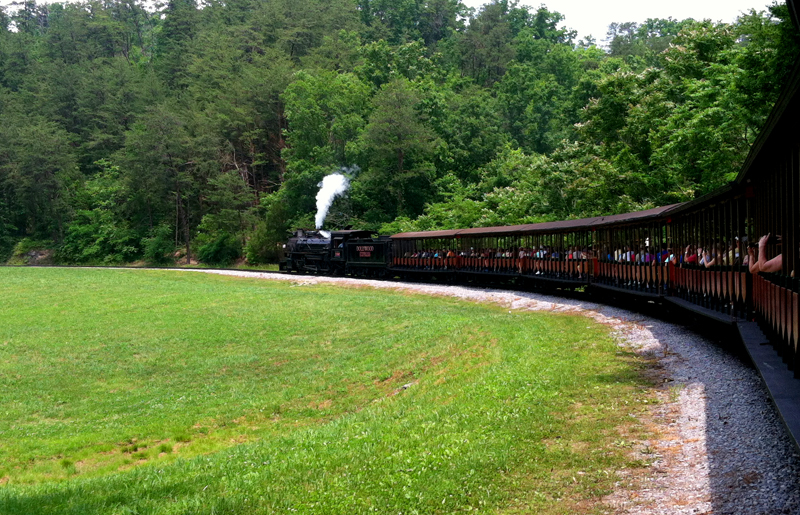Dollywood Express Train Ride in Motion