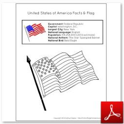 U.S.A. Facts and Flag Handout
