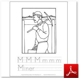 Miner Coloring Tracing Page
