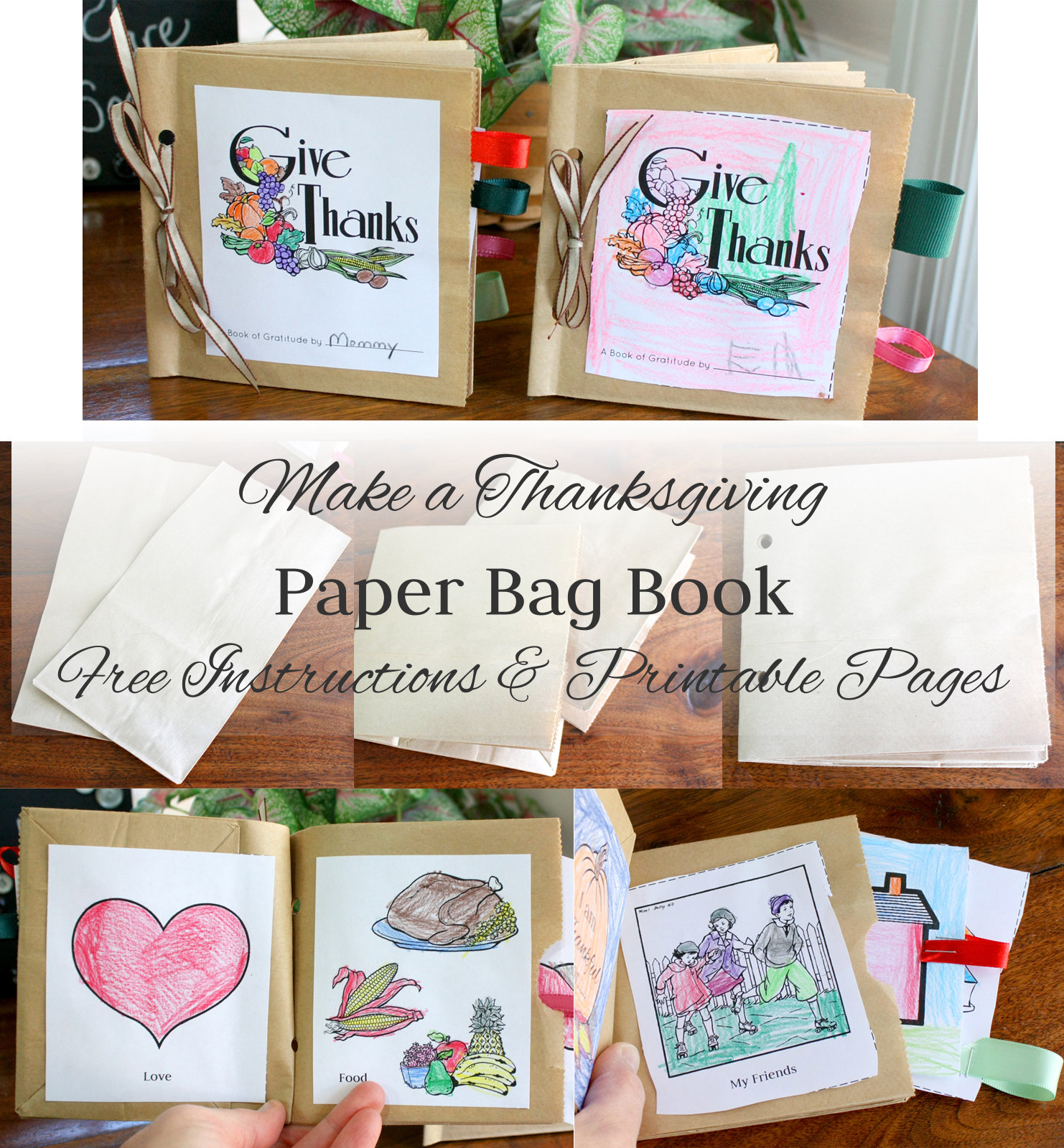 How To Make A Book Bag : Make a paper bag thanksgiving book instructions and free