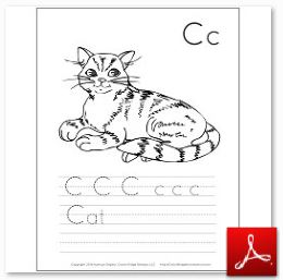 Cat Coloring Tracing Page