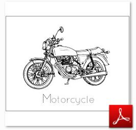 Motorcycle Coloring Tracing Page