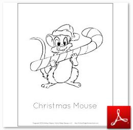 Mouse Christmas Coloring Page