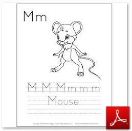 Mouse Coloring Tracing Page