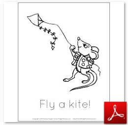 Mouse With Kite Coloring Tracing Page