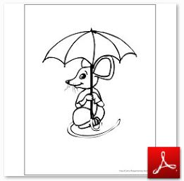 Mouse with Umbrella Coloring Page