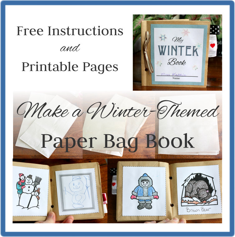 Winter Paper Bag Book Button