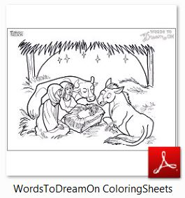 WordsToDreamOn ColoringSheets