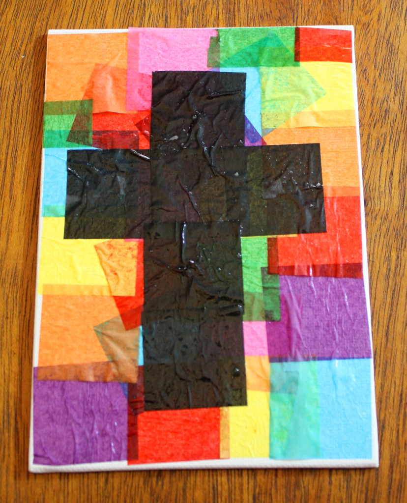 Tissue Paper Canvas Art Cross