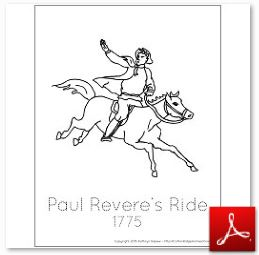 1775 Paul Reveres Ride Coloring Tracing Page