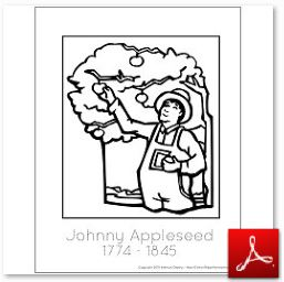 Johnny Appleseed Coloring Tracing Page
