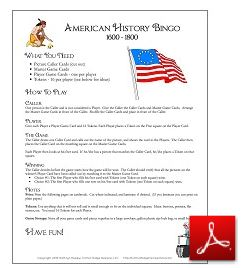 American History Bingo Game